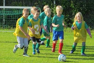 Nappulaliigan pieniä jalkapalloilijoita nurmikolla juoksemassa pallon perässä.