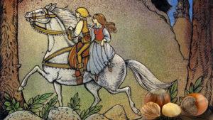 Piirroskuva tytöstä ja pojasta, jotka ratsastavat valkoisella hevosella