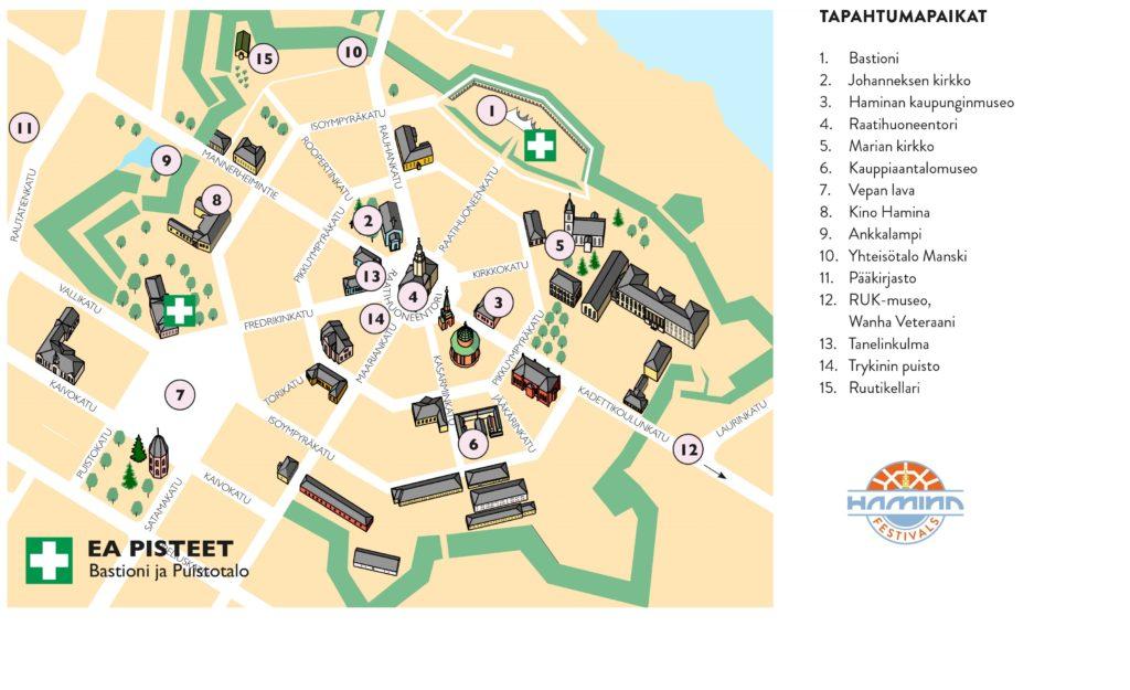 Haminan Valojen yön 11.9.2020 tapahtumapaikat kartta