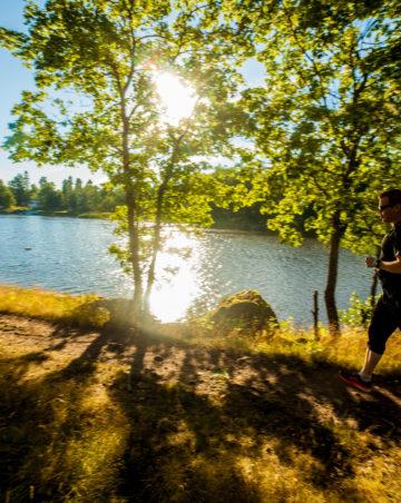 Tummiin shortseihin ja t-paitaan pukeutunut juoksija rantapolulla, aurinko paistaa suoraan veteen.
